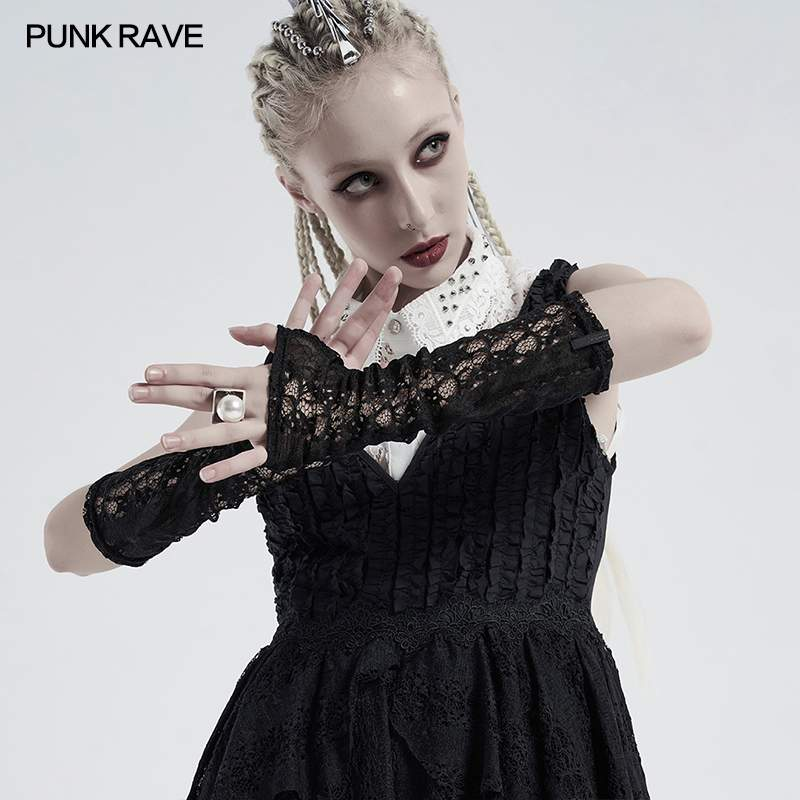 Punk Rave Solar Lace Cuffs - Kate's Clothing