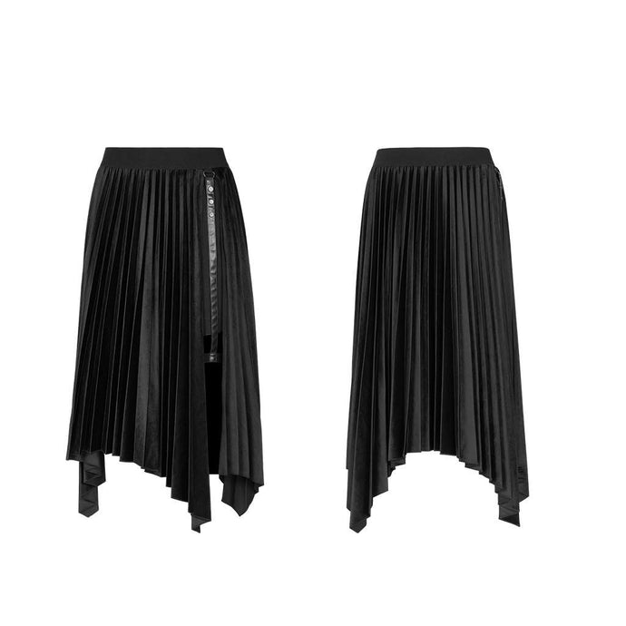 Punk Rave Thara Velveteen Pleat Skirt with Thigh Strap - Kate's Clothing