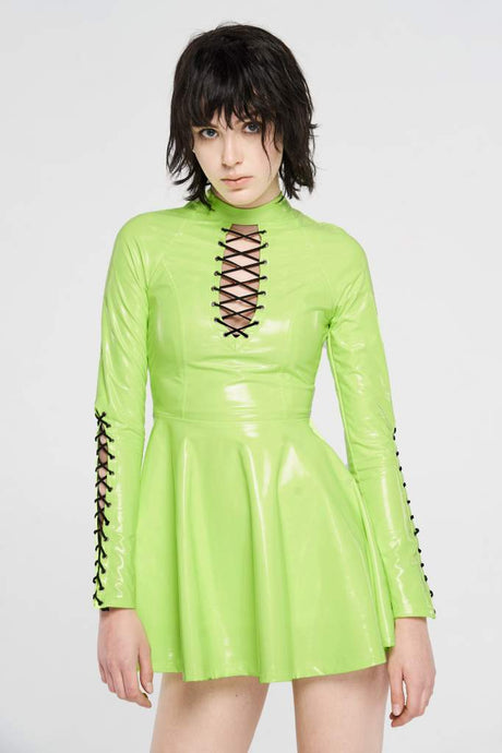 Punk Rave Plus Size Tyra Skater Dress - Neon Green - Kate's Clothing
