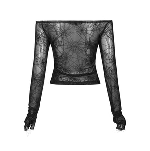 Punk Rave Mesh Bardot Top - Webs - Kate's Clothing