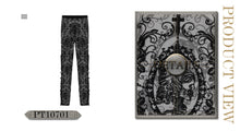 Load image into Gallery viewer, Devil Fashion Black On Black Velvet Embossed Baroque Leggings - Kate's Clothing