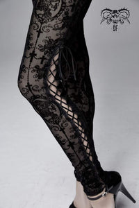 Devil Fashion Plus Size Black On Black Velvet Embossed Baroque Leggings - Kate's Clothing