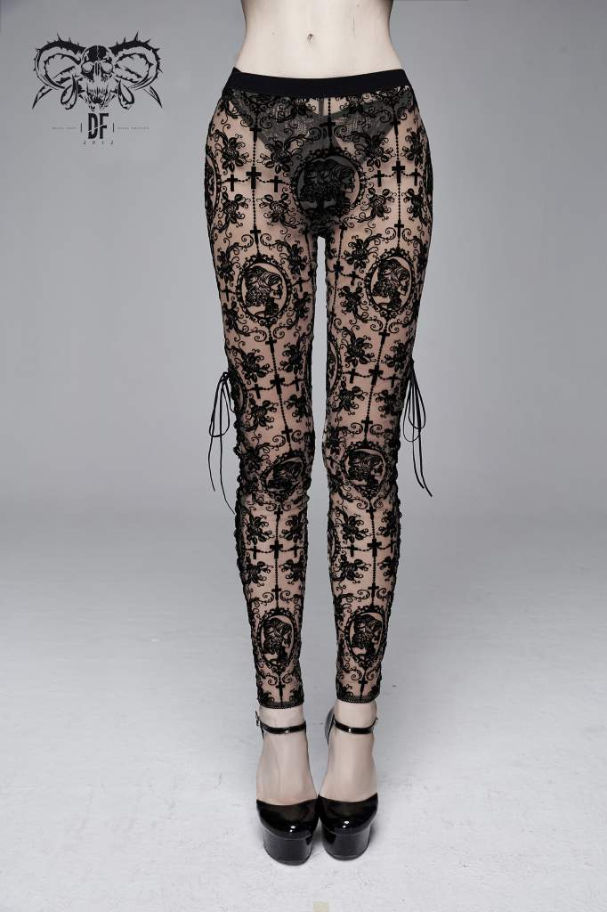 Devil Fashion Black On Beige Velvet Embossed Baroque Leggings - Kate's Clothing