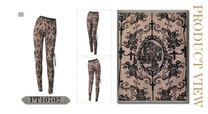 Devil Fashion Plus Size Black On Beige Velvet Embossed Baroque Leggings - Kate's Clothing