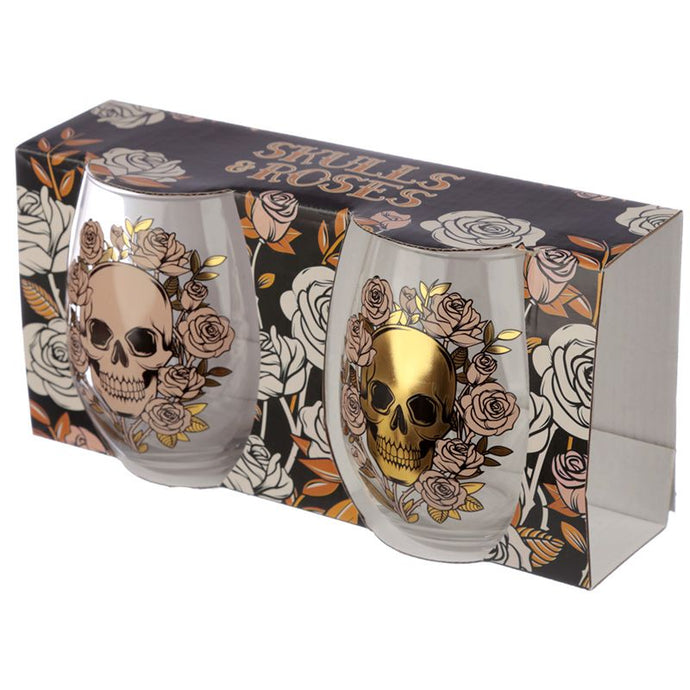 Gothic Gifts Set of 2 Skulls & Roses Glass Tumblers - Kate's Clothing