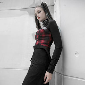Punk Rave Plus Size Arella Tartan Crop Top - Kate's Clothing