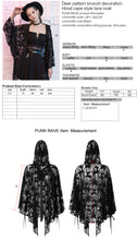 Load image into Gallery viewer, Punk Rave Cervus Hooded Lace Cape - Kate's Clothing