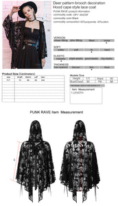 Punk Rave Cervus Hooded Lace Cape - Kate's Clothing