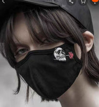 Load image into Gallery viewer, Punk Rave Skull & Rose Face Mask - Kate's Clothing