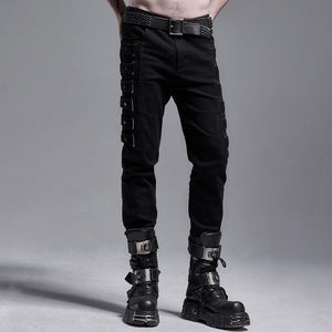 Punk Rave Mens Hades Trousers with Thigh Straps - Kate's Clothing