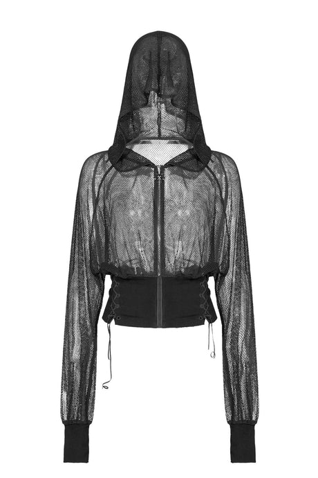 Punk Rave Anaka Fishnet Hoodie - Kate's Clothing