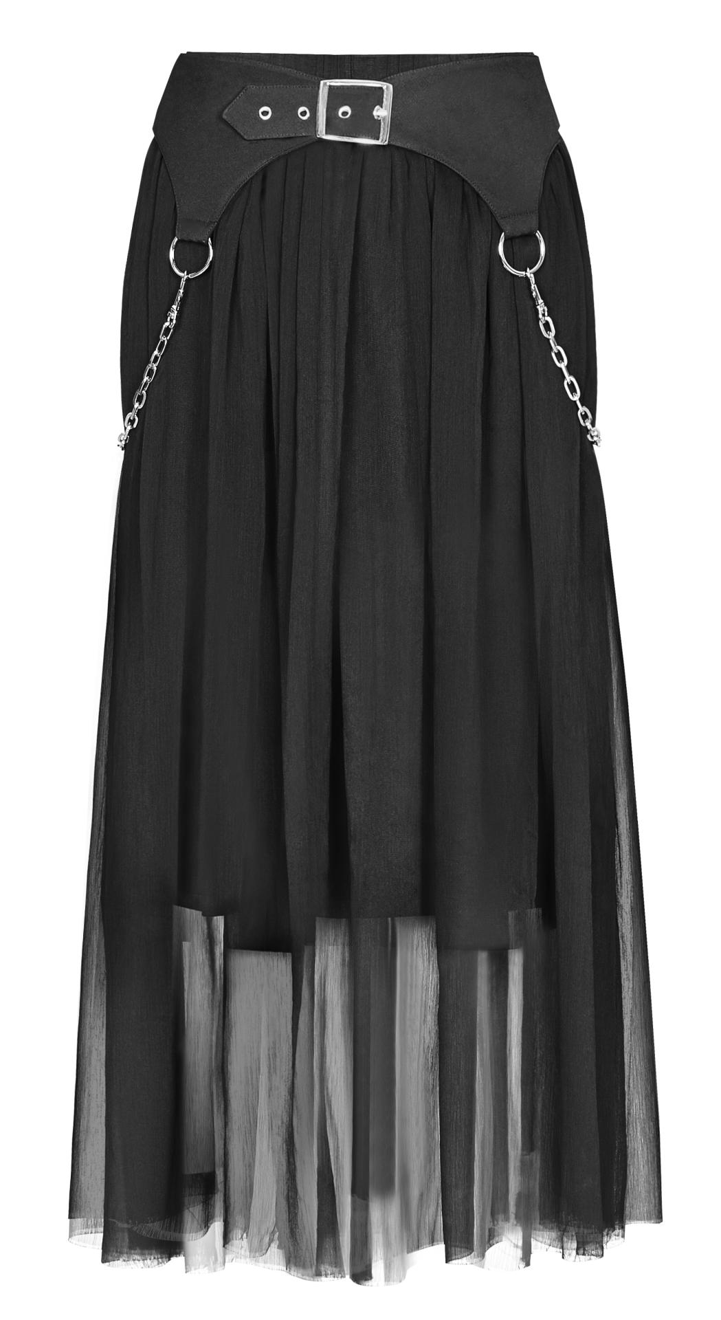 Punk Rave Elsbeth Midi Skirt with Integral Belt Chains - Kate's Clothing
