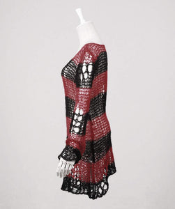 Punk Rave Red & Black Ruin Sweater - Kate's Clothing