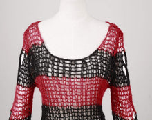 Load image into Gallery viewer, Punk Rave Red & Black Ruin Sweater - Kate's Clothing