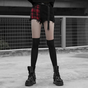 Punk Rave Red Tartan and Black Ripped Shorts - Kate's Clothing
