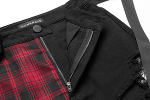 Punk Rave Plus Size Red Tartan and Black Ripped Shorts - Kate's Clothing