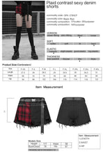 Load image into Gallery viewer, Punk Rave Red Tartan and Black Ripped Shorts - Kate's Clothing