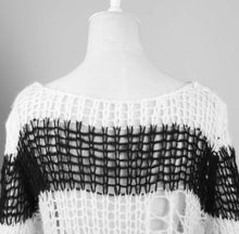 Load image into Gallery viewer, Punk Rave White & Black Ruin Sweater - Kate's Clothing