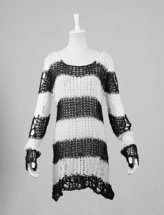 Punk Rave White & Black Ruin Sweater