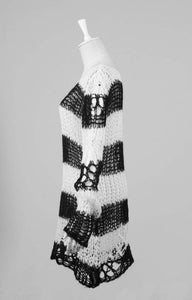 Punk Rave White & Black Ruin Sweater - Kate's Clothing