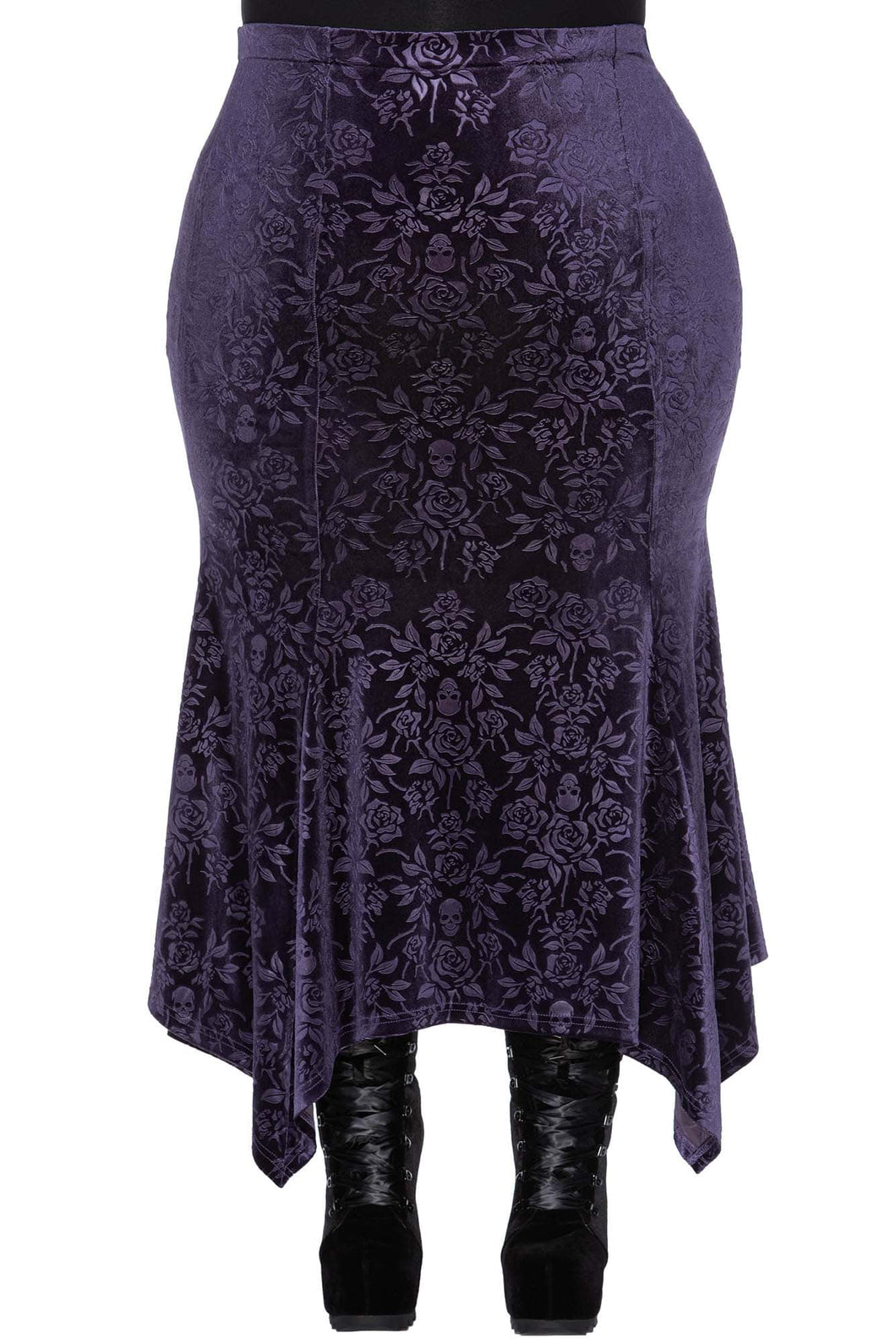 Killstar Roses Are Dead Maxi Skirt Plum Plus Size - Kate's Clothing
