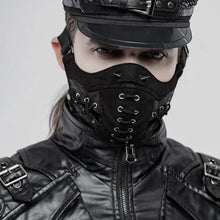 Load image into Gallery viewer, Punk Rave Spiked & Lace-Up Face Mask