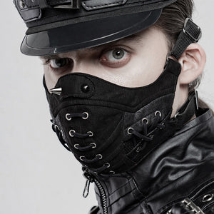 Punk Rave Spiked & Lace-Up Face Mask