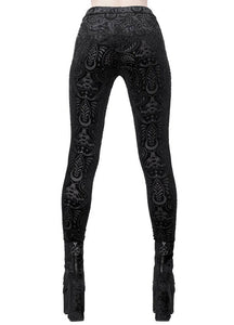 Killstar Saiph Burnout Velvet Leggings - Kate's Clothing