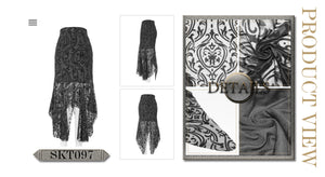 Devil Fashion Plus Size Velvet Embossed Baroque Skirt - Kate's Clothing