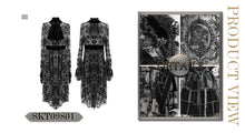 Load image into Gallery viewer, Devil Fashion Black On Black Velvet Embossed Baroque Dress - Kate's Clothing