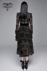 Devil Fashion Black On Black Velvet Embossed Baroque Dress - Kate's Clothing