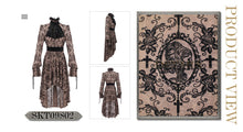Load image into Gallery viewer, Devil Fashion Black On Beige Velvet Embossed Baroque Dress - Kate's Clothing