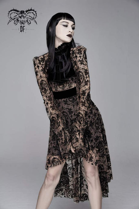 Devil Fashion Black On Beige Velvet Embossed Baroque Dress - Kate's Clothing