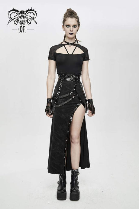 Devil Fashion Thigh Split Skirt - Kate's Clothing