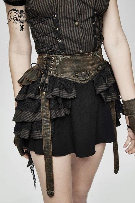 Devil Fashion Plus Size Steampunk Mini Skirt