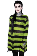 Load image into Gallery viewer, Killstar Slimer Distress Knit Sweater - Kate's Clothing