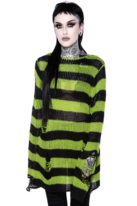 Killstar Slimer Distress Knit Sweater - Kate's Clothing