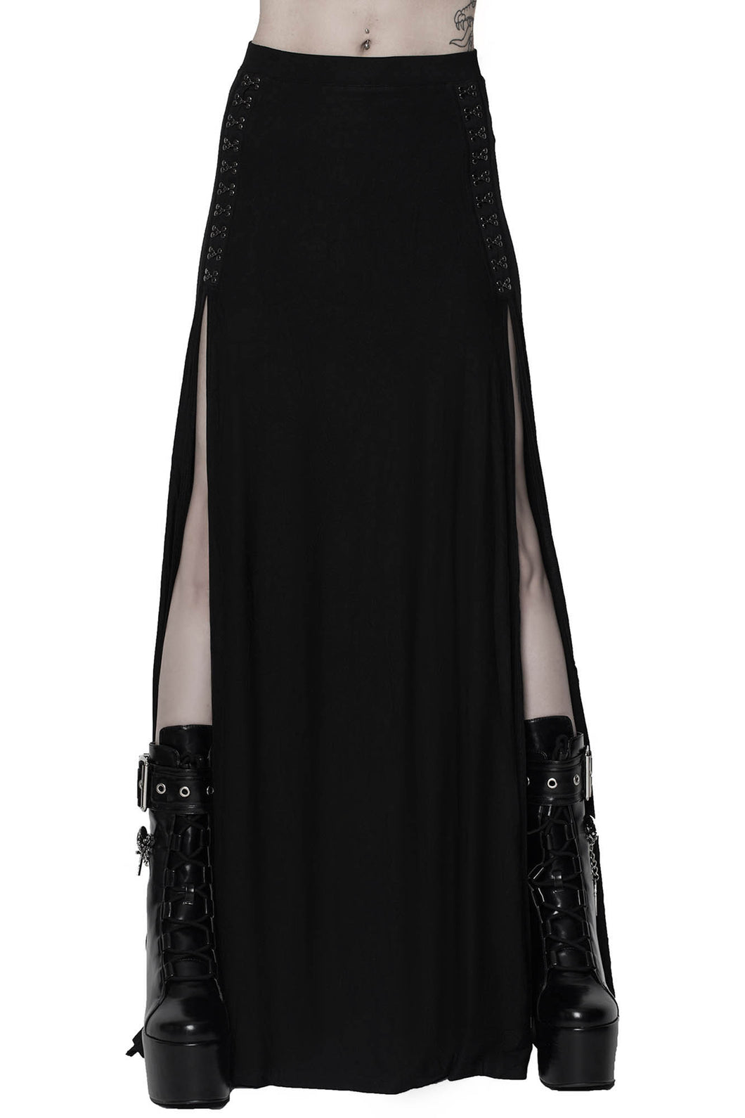 Killstar Snarl Maxi Skirt with High Slits - Kate's Clothing