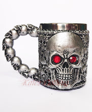 Load image into Gallery viewer, Gothic Gifts Resin Skull Mug - Red Eyed Skull - Kate's Clothing