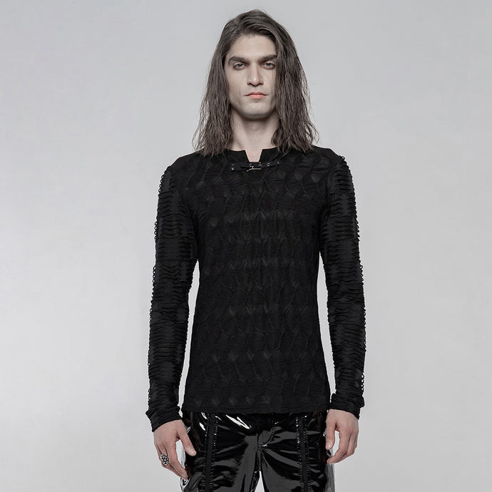 Punk Rave Mens Textured Long Sleeve Top - Kate's Clothing