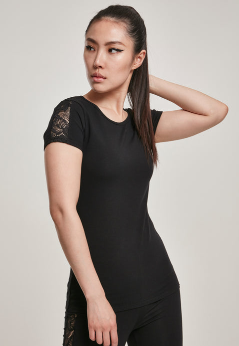 Urban Classics Lace Shoulder Tee - Kate's Clothing