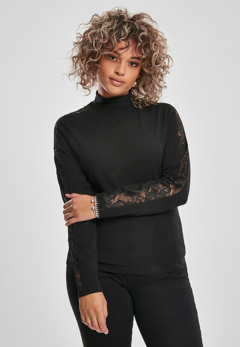 Urban Classics Plus Size Lace Shoulder Long Sleeve Top - Kate's Clothing