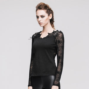 Devil Fashion Spiderweb Mesh Top - Kate's Clothing