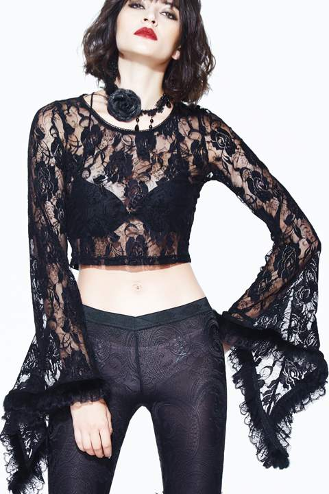 Devil Fashion Rose Lace Crop Top