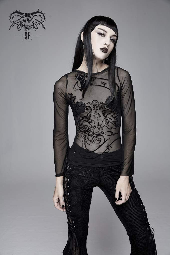 Devil Fashion Skull Embossed Mesh Top - Kate's Clothing