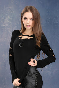 Dark in Love Slashed and Tied Varda Top