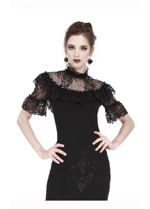 Dark In Love Lacy Black Top - Kate's Clothing