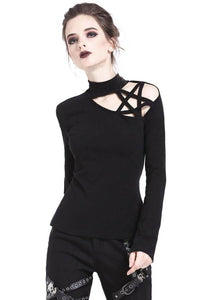 Dark In Love Pentagram Shoulder Top - Kate's Clothing