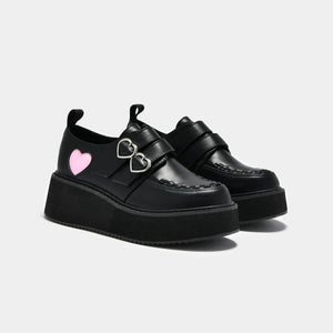 Koi Pothos Pink Heart Wave Platform Shoes - Kate's Clothing