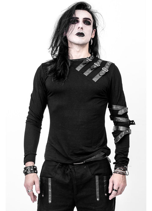 Necessary Evil Vidar Mens Buckled Strap Top - Kate's Clothing